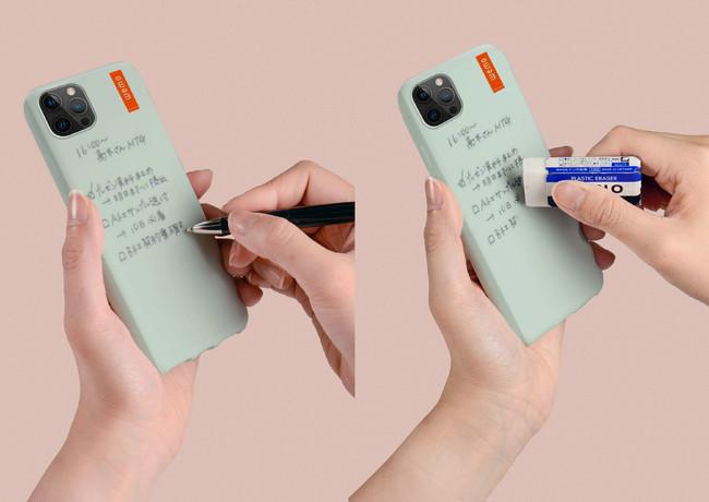 wemo ウェアラブルメモケースタイプ (iPhone12/12Pro):ボールペンで書き消しできる